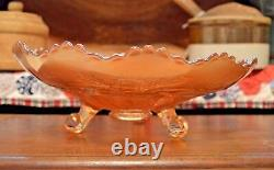 1911 ANTIQUE FENTON STAG and HOLLY Carnival Glass Footed Bowl ELK DEER 10.5