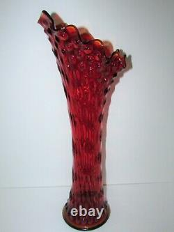 20 Fenton Non-Iridized Rustic Funeral Glass Vase in Red 930