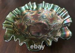Antique Carnival Glass Bowl Hearts and Vines Green Iridescent 8 1/2 D