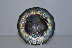 Antique Carnival Glass Stag & Holly 10 Blue Large Footed Bowl by Fenton