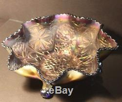 Antique FENTON Blue Carnival Art Glass Water Lily Ball Footed Ruffle Edge
