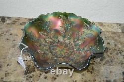 Antique FENTON Carnival Glass Holly & Berries Green Bowl 9
