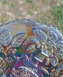Antique Fenton Blue Carnival Glass Peacock and Urn 9 Plate STUNNING COLORS