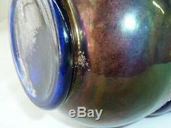 Antique Fenton Blue Cobal Carnival Glass Floral and Grape Water Pitcher