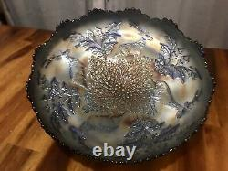 Antique Fenton Blue Stag & Holly Carnival Glass Nut or Fruit Bowl, Beautiful Art