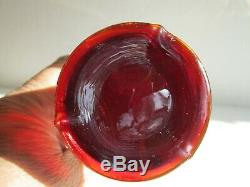 Antique Fenton CHERRY RED BUTTERFLY & BERRY Carnival Glass Vase