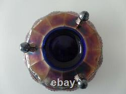 Antique Fenton Carnival Glass Blue Butterfly & Berry Fantail Claw & Ball Bowl