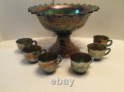 Antique Fenton Carnival Glass Orange Tree Blue Flared Punch Bowl WithBase & 6 Cups
