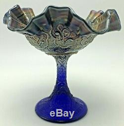 Antique Fenton Carnival Glass Persian Medallion Large Compote Blue Iridescent