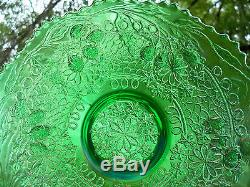 Antique Fenton Leaf Chain 9 Green Carnival Glass 12 Sided Plate Super Color