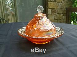 Antique Fenton Water Lily & Cattails Marigold Carnival Glass Butter Dish