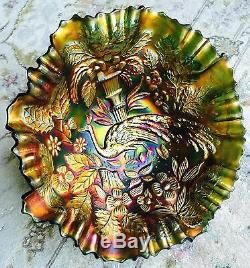 Beautiful Antique 9/23cm Wide Fenton Peacock Pattern Carnival Glass Bowl