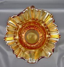 CARNIVAL GLASS FENTON BOUQUET Marigold Crimped Crown Water Pitcher