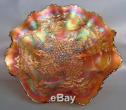CARNIVAL GLASS FENTON Marigold VASELINE STAG & HOLLY 11 Ruffled Footed Bowl