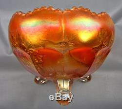 CARNIVAL GLASS FENTON STAG & HOLLY DARK Marigold Footed GIANT ROSE BOWL