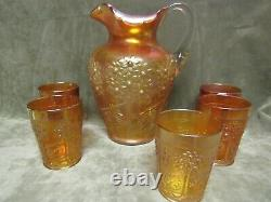 Ca 1910 Fenton Orange Tree Orchard Marigold Carnival Glass Pitcher with5 Tumblers