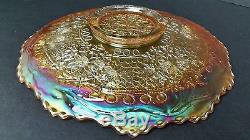 Carnival Glass Fenton Leaf Chain Bearded Berry Ext. Pastel Marigold Plate EUC