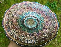 Carnival Gorgeous Old Fenton Blue Persian Medallion 9 Plate Smooth Exterior