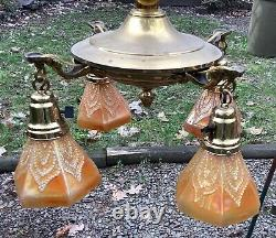 Carnival Incredible Fenton Four Shade Dragons Tongue Polished Brass Fixture