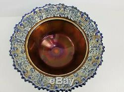 Carnival glass Butterfly Berries Clawfoot Irridescent Blue Bowl with Lid