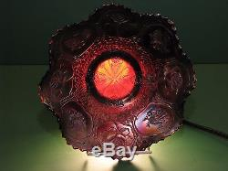 Carnival glass Fenton Dragon and Lotus 9 inch bowl dish VERY RARE red base color
