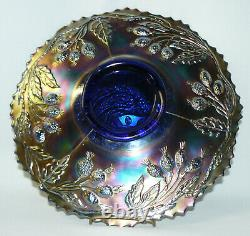 Cobalt Blue Carnival Fenton Peacock and Urn Plate Awesome Color