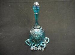 EXTREMELY RARE FENTON CARNIVAL GLASS BELL WithLATTICE BOTTOM BLUE GREEN FLOWERS