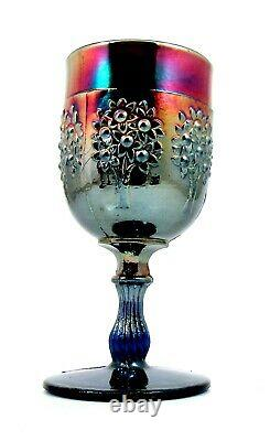 Early Fenton Cobalt Electric Blue Carnival Glass Wine Goblet (3) circa 1920