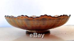 Extremely Rare Fenton PLAID Pattern Carnival Glass Bowl Amethyst Colour No Chips
