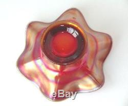 FENTON CARNIVAL GLASS HOLLY PATTERN HAT GREAT IRIDESCENT COLORS NO DAMAGE