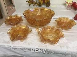 FENTON CARNIVAL GLASS PANTHER & BUTTERFLY BERRY BOWL SET Antique