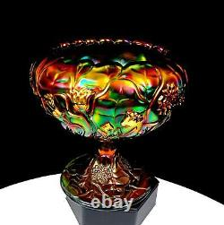 FENTON CARNIVAL GLASS WATER LILY EMERALD GREEN 5 1/4 FOOTED ROSE BOWL 1980's