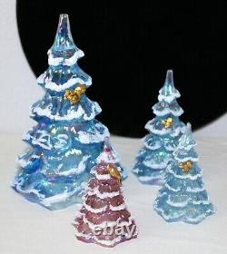 FENTON Carnival Glass CHRISTMAS TREE Blue Red Gold Plated Squirrel Bird SET 4
