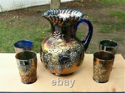 FENTON Carnival Glass Water Pitcher & 4 Tumblers, Floral & Grape Pattern, Blue