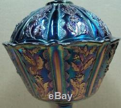 FENTON Compote 9 CANDY DISH Green Iridescent PURPLE AMETHYST Carnival Glass