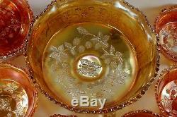 FENTON MARIGOLD BERRY BOWL SET BUTTERFLY & BERRY pattern 8 pieces