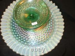 FENTON PEDISTIAL CAKE PLATE OPALESENCE hobnail design with scalloped edge