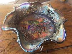 FENTON Panther Carnival Glass Electric Blue 5.5 Footed Berry Bowl, Butterflies