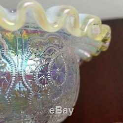 FENTON Persian Medallion Gold Crest 3-PC FAIRY LAMP Iridescent French Opalescent