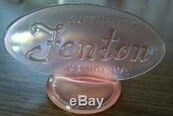 FENTON Pink Opalescent LOGO DISPLAY SIGN Carnival Sign with sticker VGC