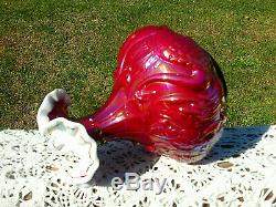 FENTON RUBY RED CARNIVAL OVER IRIDIZED MILK GLASS W / CREST Swan CATTAILS Vase