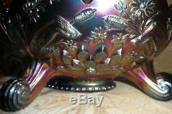 FENTON footed THISTLECARNIVAL GLASS LARGE OVAL BANANA BOAT Colbalt Blue