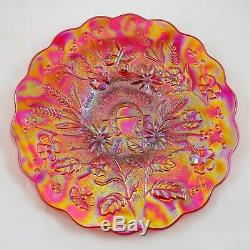 FENTON or MOSSER FOR LEVAY RED CARNIVAL GLASS GOOD LUCK CHOP PLATE