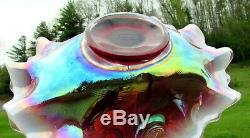 Fenton 1990's Plum Opalescent Carnival Holly Basket Stunning 9.5Lx7.5Wx8.5H