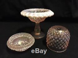 Fenton 3 Piece Pink Carnival Glass Hobnail Fairy Lamp 95 Year Anniversary