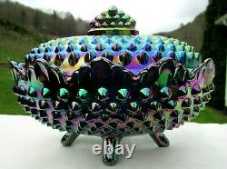 Fenton 70's Amethyst Carnival Glass Hobnail Footed Candy Dish 6.75Lx5Wx5H HTF