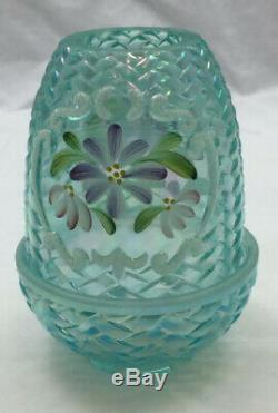 Fenton 95th Anniversary Blue Carnival Glass Fairy Lamp with Flowers Signed