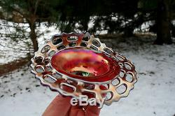 Fenton ANTIQUE CARNIVAL ART GLASS OPEN EDGE JIP HATHIGHLY PRIZED CHERRY RED