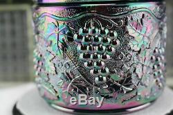 Fenton Amethyst Carnival Glass Grape Cable Canister Tobacco Candy Jar