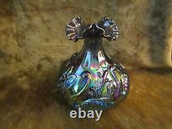 Fenton Amethyst Carnival Glass Swan and Cattails Vase/EXCELLENT